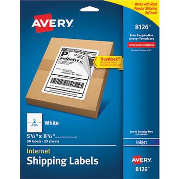 "Internet Shipping Labels, TrueBlock® Technology, Permanent Adhesive, 5 1/2"" x 8 1/2"", 50/PK"