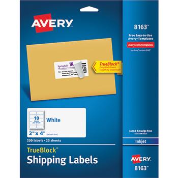 "Avery® Shipping Labels, Inkjet, TrueBlock® Technology, Permanent Adhesive, 2"" x 4"", 250/PK"