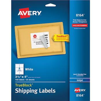 "Shipping Labels, TrueBlock® Technology, Permanent Adhesive, 3 1/3"" x 4"",  150/PK"