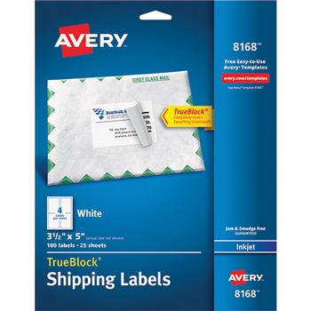 "Shipping Labels, TrueBlock® Technology, Permanent Adhesive, 3 1/2"" x 5"", 100/PK"