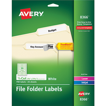"Avery® File Folder Labels, TrueBlock® Technology, Permanent Adhesive, 2/3"" x 3 7/16"", 750/PK"