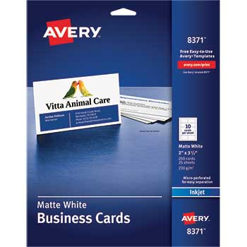 "Business Cards, Matte, Two-Sided Printing, 2"" x 3 1/2"", 250/PK"