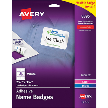 "Avery® Adhesive Name Badges, 2 1/3"""" x 3 3/8"""", 160/PK"