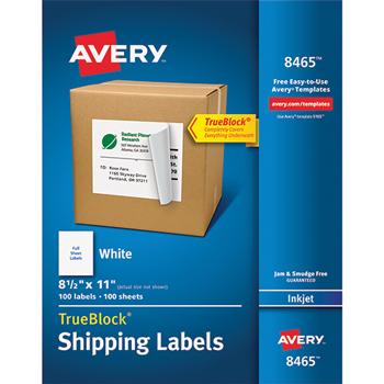 "Avery® Shipping Labels, TrueBlock® Technology, Permanent Adhesive, 8 1/2"" x 11"", 100/BX"