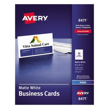 "Business Cards, Matte, Two-Sided Printing, 2"" x 3 1/2"", 1000/BX"