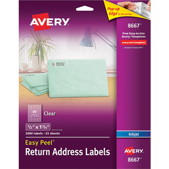 "Avery® Easy Peel® Return Address Labels, Permanent Adhesive, Clear, 1/2"" x 1 3/4"", 2000/PK"