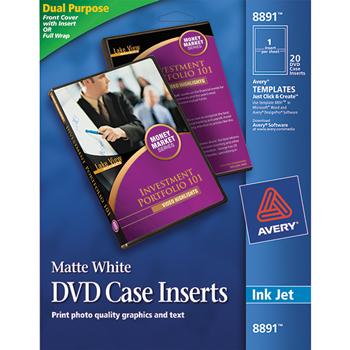 Avery® Matte White DVD Case Inserts, 20/PK
