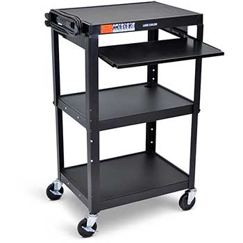 Luxor Adjustable Height Steel AV Cart with Pullout Keyboard Tray