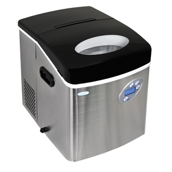 "New Air Commercial Portable Ice Machine, Stainless Steel, 14-1/4""W x 16-7/8""D x 16-3/4""H"