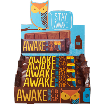 Awake Milk Chocolate Bars, 12/BX