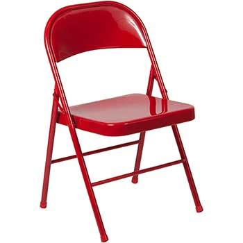 Flash Furniture HERCULES Series Double Braced Folding Chair, Metal, Red