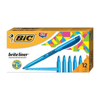 Brite Liner Highlighter, Chisel Tip, Fluorescent Blue Ink, Dozen