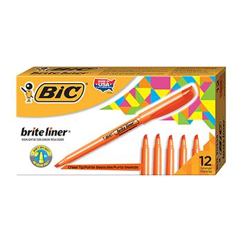 Brite Liner Highlighter, Chisel Tip, Fluorescent Orange Ink, Dozen