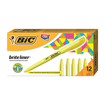 Brite Liner Highlighter, Chisel Tip, Fluorescent Yellow Ink, DZ