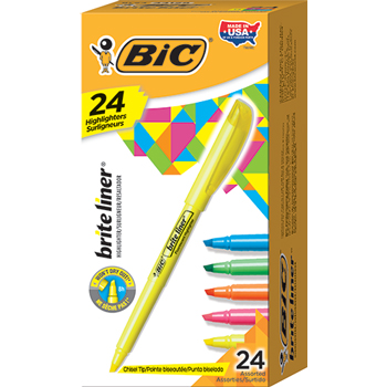 Brite Liner Highlighter, Chisel Tip, Assorted Ink, 24 per Set