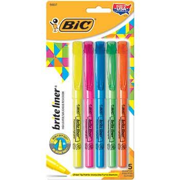 BIC® Brite Liner Highlighter, Chisel Tip, Fluorescent, 5/ST