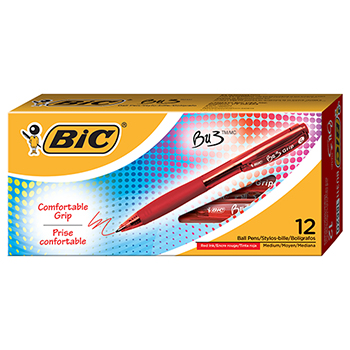 BIC® BU3 Retractable Ballpoint Pen, Bold, 1.0mm, Red, Dozen