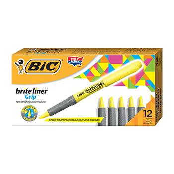 BIC® Brite Liner Grip Highlighter, Chisel Tip, Fluorescent Yellow Ink, Dozen