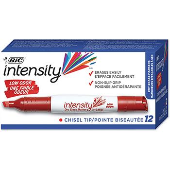 BIC® Intensity™ Low Odor Tank Dry Erase Marker, Chisel Tip, Red