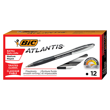 Atlantis Ballpoint Retractable Pen, Black Ink, Medium, 1mm, Dozen