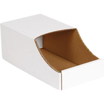 """W.B. Mason Co. Stackable Bin Boxes, 6"""" x 12"""" x 4 1/2"""", White, 50/BD"""