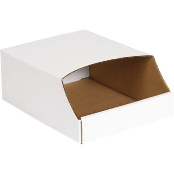 """Stackable Bin Boxes, 9"""" x 12"""" x 4 1/2"""", White, 50/BD"""