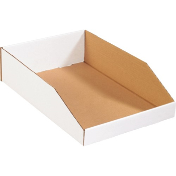 "W.B. Mason Co. Open Top Bin Boxes, 12"" x 18"" x 4 1/2"", White, 50/BD"