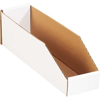 """Open Top Bin Boxes, 4"""" x 15"""" x 4 1/2"""", White, 50/BD"""