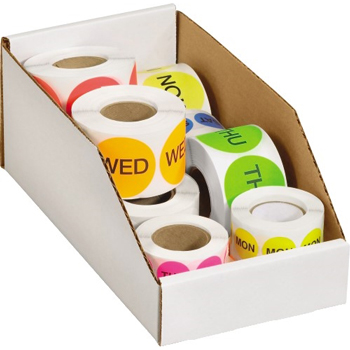 """W.B. Mason Co. Open Top Bin Boxes, 6"""" x 12"""" x 4 1/2"""", White, 50/BD"""