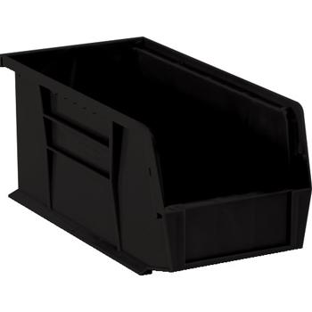 """W.B. Mason Co. Plastic Stack & Hang Bin Boxes, 18"""" x 8 1/4"""" x 9"""", Black, 6/CS"""
