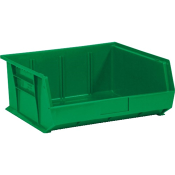 "W.B. Mason Co. Plastic Stack & Hang Bin Boxes, 14 3/4"" x 16 1/2"" x 7"", Green, 6/CS"