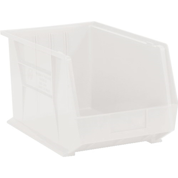 "Plastic Stack & Hang Bin Boxes, 16"" x 11"" x 8"", Clear, 4/CS"