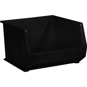 "Plastic Stack & Hang Bin Boxes, 18"" x 16 1/2"" x 11"", Black, 3/CS"