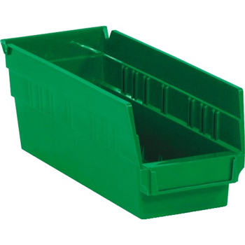 "W.B. Mason Co. Plastic Shelf Bin Boxes, 11 5/8"" x 4 1/8"" x 4"", Green, 36/CS"