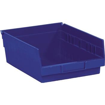 "W.B. Mason Co. Plastic Shelf Bin Boxes, 11 5/8"" x 11 1/8"" x 4"", Blue, 8/CS"