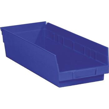"Plastic Shelf Bin Boxes, 17 7/8"" x 6 5/8"" x 4"", Blue, 20/CS"