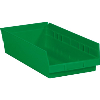 "Plastic Shelf Bin Boxes, 17 7/8"" x 8 3/8"" x 4"", Green, 10/CS"