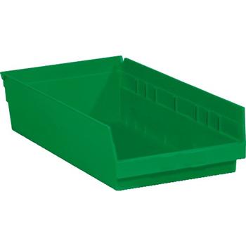 "W.B. Mason Co. Plastic Shelf Bin Boxes, 17 7/8"" x 11 1/8"" x 4"", Green, 8/CS"