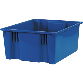"""Stack & Nest Containers, 20 7/8"""" x 18 1/4"""" x 9 7/8"""", Blue, 3/CS"""