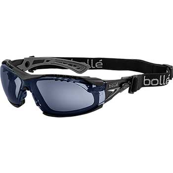 Bollé Safety Rush+ Safety Goggle, Black/Gray Frame, PLATINUM® ASAF, Smoke Lens