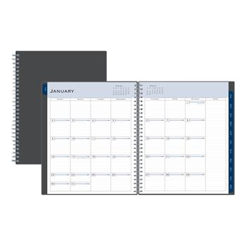"""Blue Sky™ Passages Monthly Wirebound Planner, 8"""" x 10"""", Charcoal, 2022"""