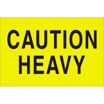 "Tape Logic® Labels, ""Caution Heavy"", 2 x 3"", Fluorescent Yellow, 500/RL"