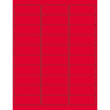 """Removable Rectangle Laser Labels, 2 5/8"""" x 1"""", Fluorescent Red, 3000/CS"""