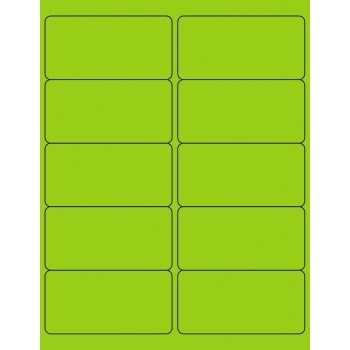 "Tape Logic® Removable Rectangle Laser Labels, 4"" x 2"", Fluorescent Green, 1000/CS"