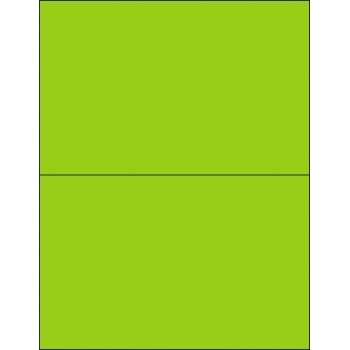 "Tape Logic® Removable Rectangle Laser Labels, 8 1/2"" x 5 1/2"", Fluorescent Green, 200/CS"