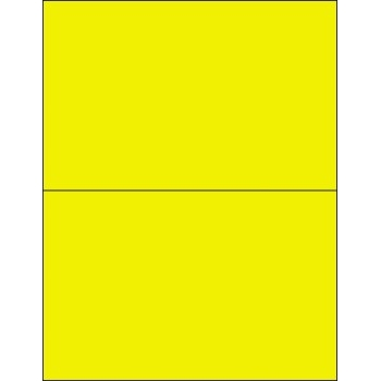 """Removable Rectangle Laser Labels, 8 1/2"""" x 5 1/2"""", Fluorescent Yellow, 200/CS"""