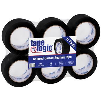 """Tape Logic® Carton Sealing Tape, 2.2 Mil, 2"""" x 110 yds., Black, 6/CS"""