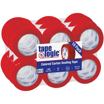 "Tape Logic® Carton Sealing Tape, 2.2 Mil, 2"" x 110 yds., Red, 18/CS"