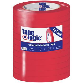 "Tape Logic® Colored Masking Tape, 4.9 Mil, 1/2"" x 60 yds., Red, 12/CS"