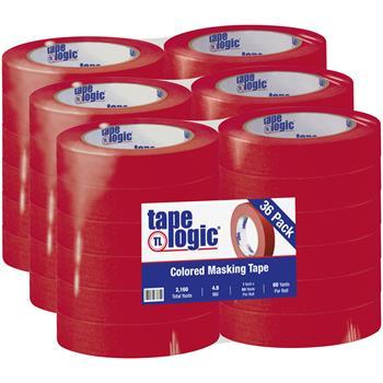"""Tape Logic® Masking Tape, 4.9 Mil, 1"""" x 60 yds., Red, 36/CS"""
